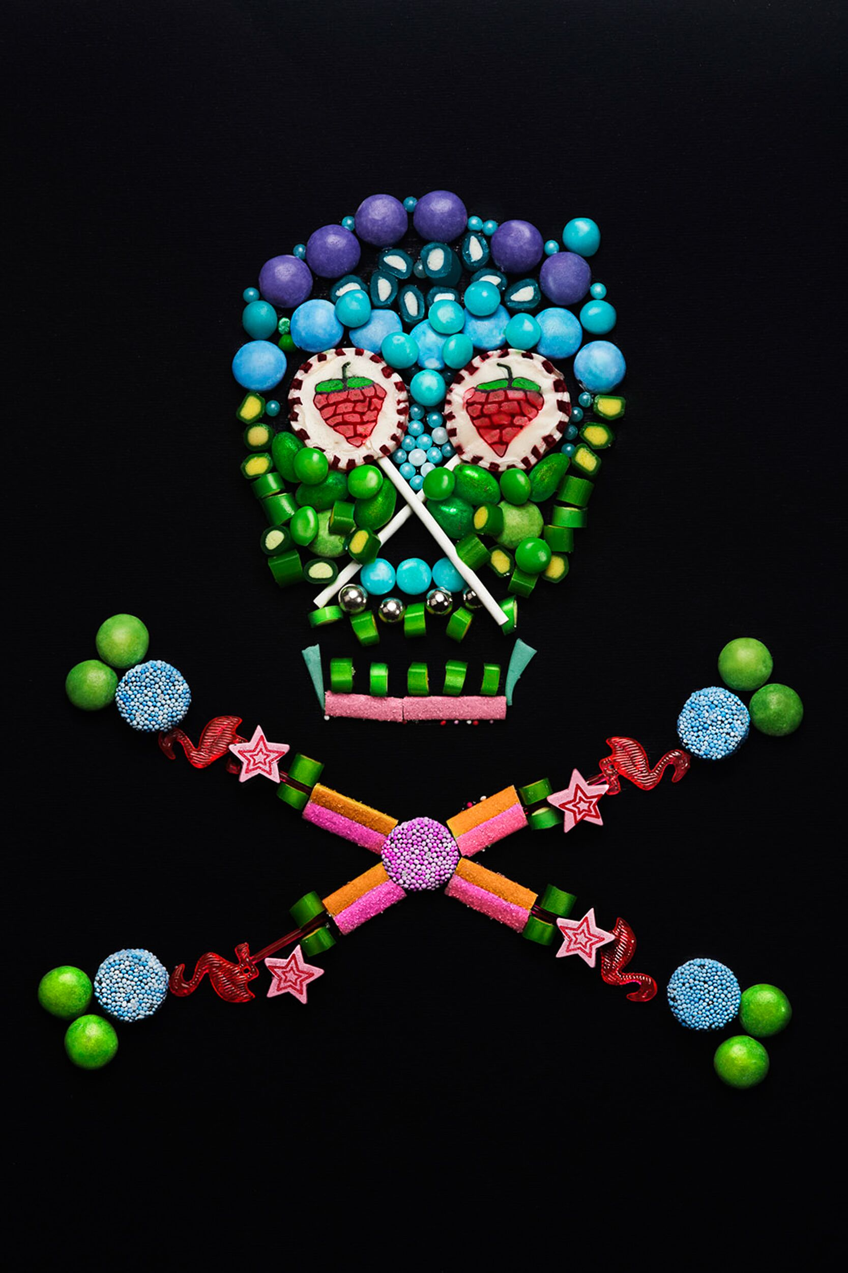 Crossbones Madeup of Different Colorful Candy