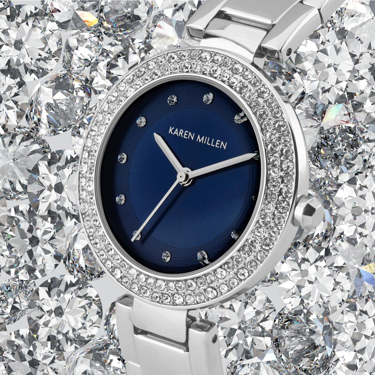 Close-up Silver Karen Millen Wrist Watch Product Photography