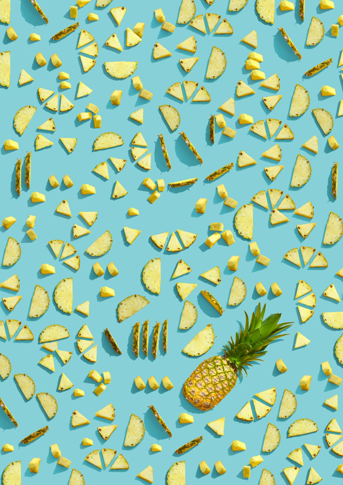 Pineapple Slices in Teal Background