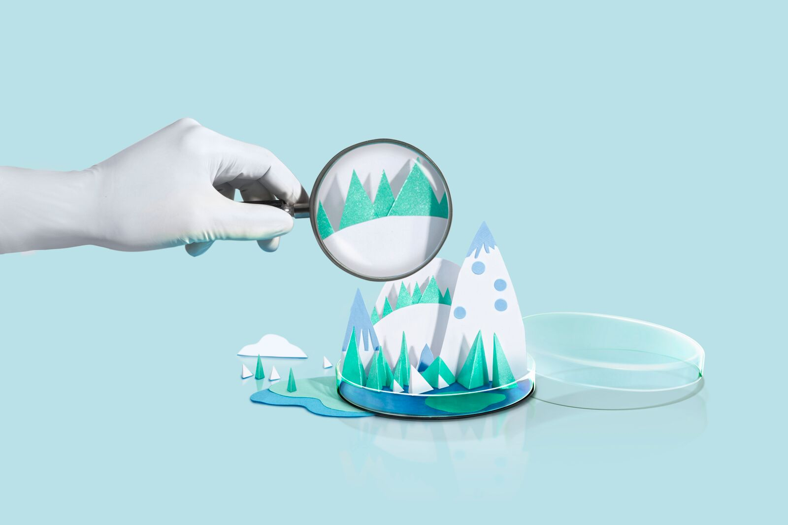 Magnified Snowy Mountain Illustration