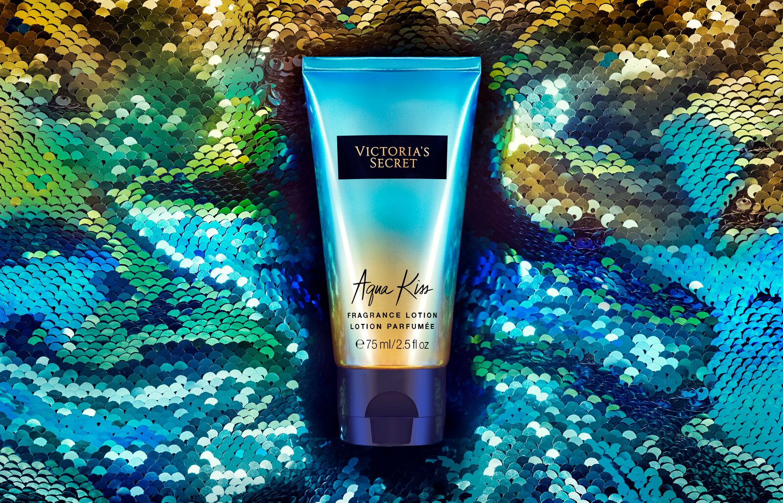 Victoria's Secret Aqua Fragrance Kiss Lotion Product Photography