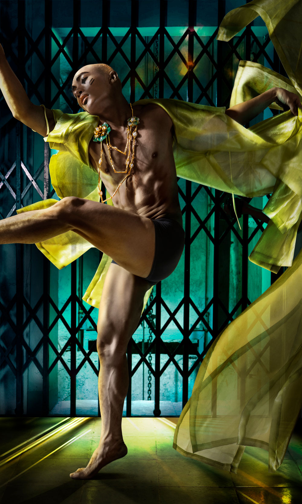 Ballerino in green fabric
