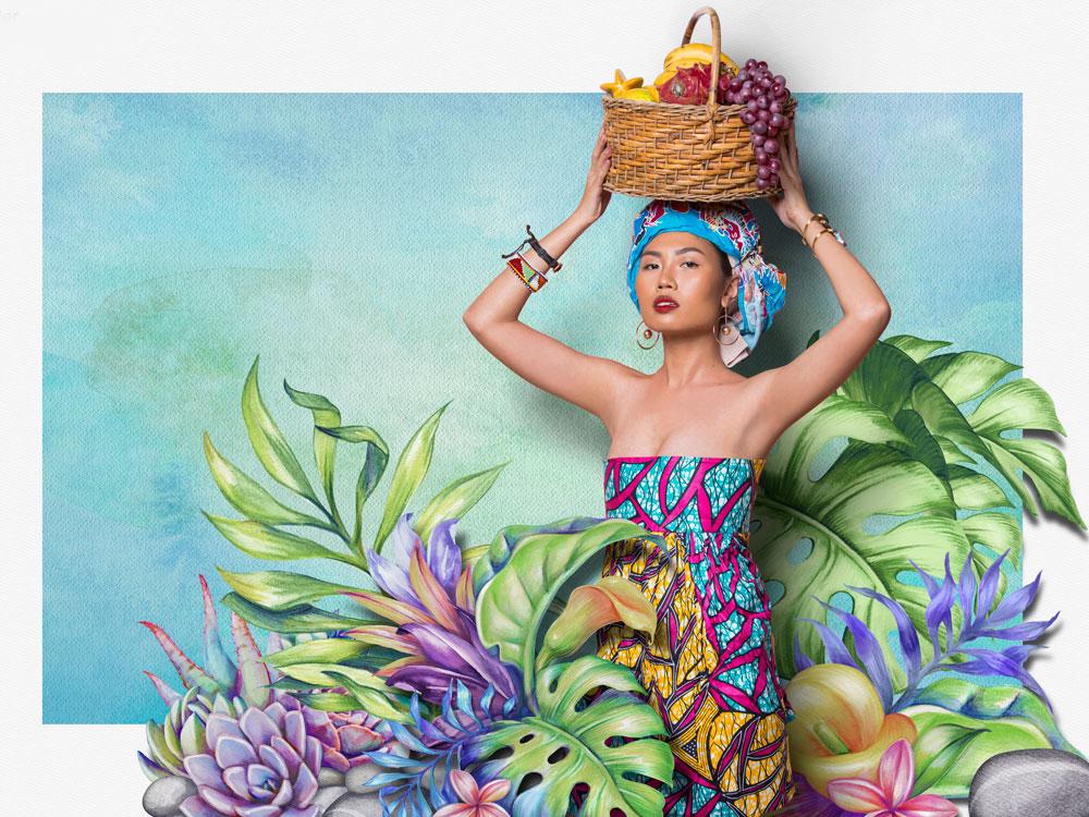 Girl with fruit basket
