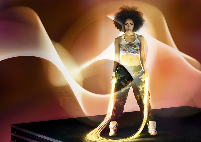 Sporty Girl with Glowing Jump Rope