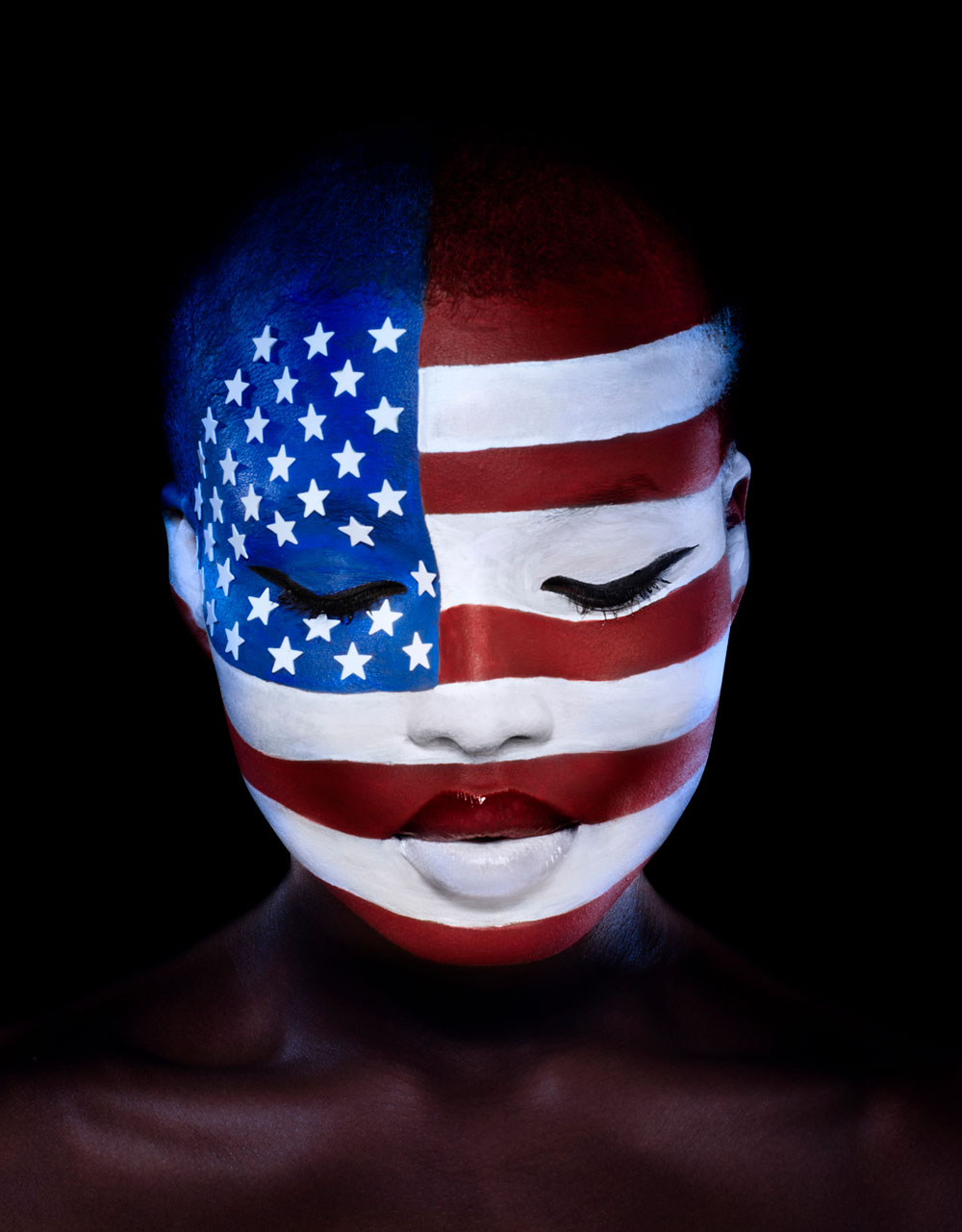 Woman Face Painted as the United States of America Flag