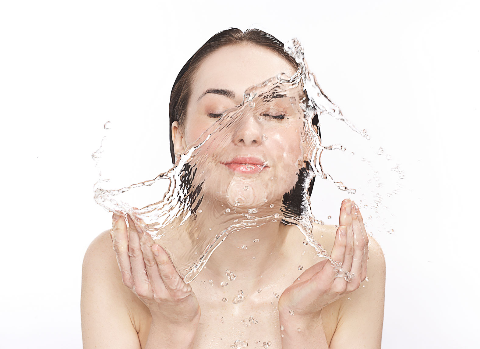 Girl Washing Her Face with Clear Water Photography