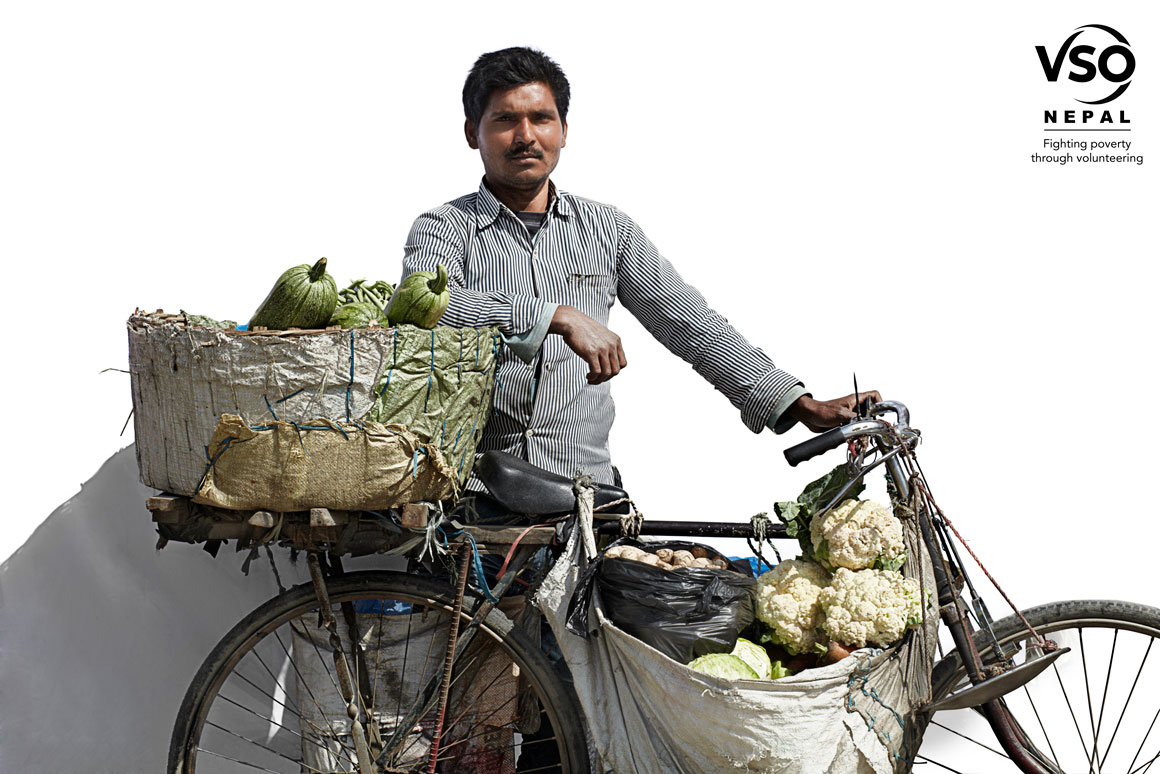 Man with Old Rusty Bike & Vegetables