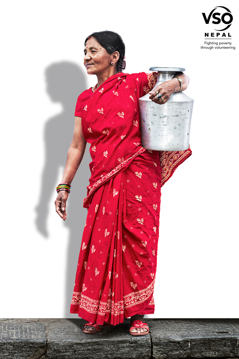 Old Woman in Red Dress Holding a Pot