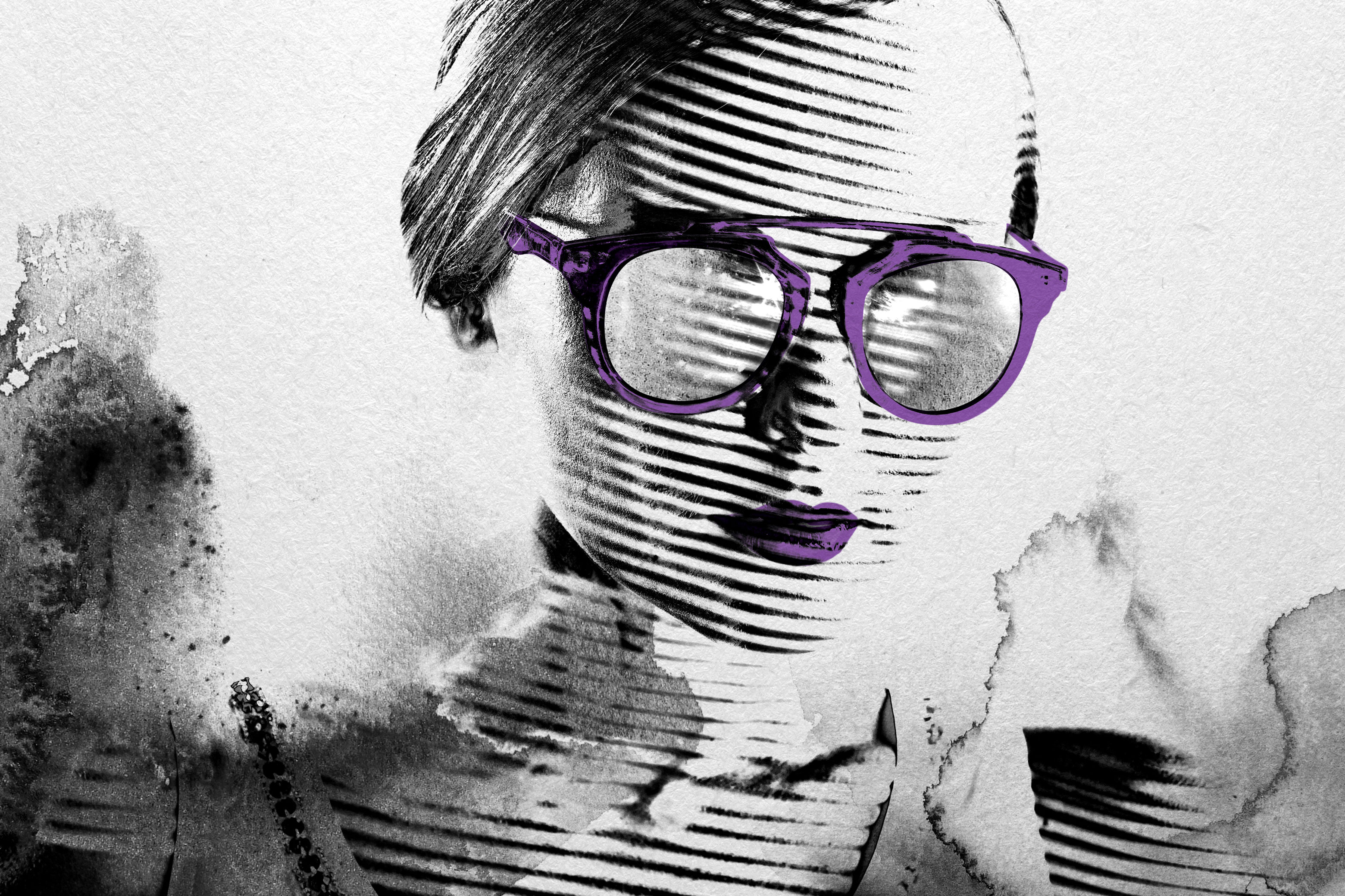 Girl in Blotted Illustration with Purple Glasses and Lips
