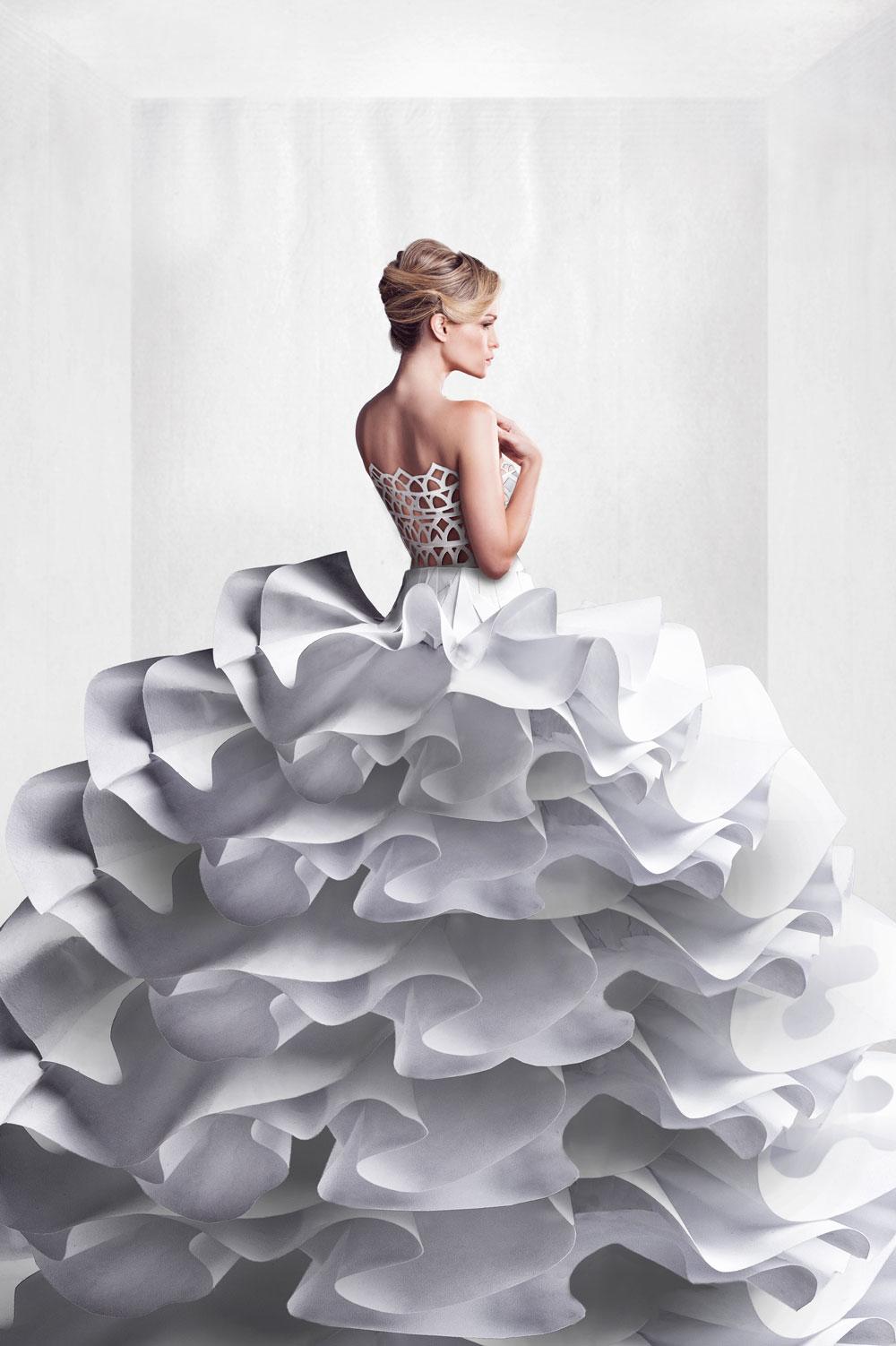 Cassie in fancy wedding dress