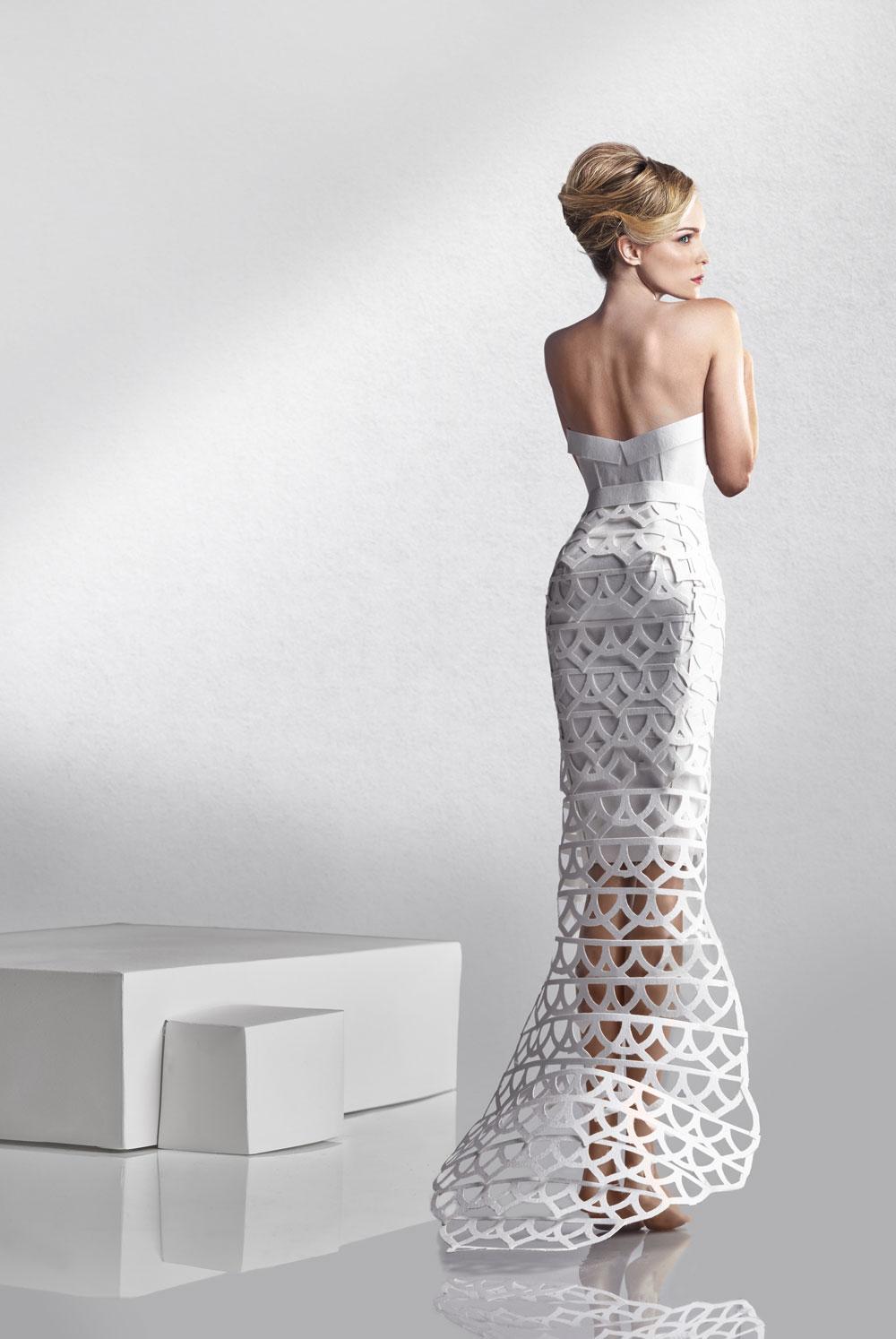 Cassie in geometric wedding dress