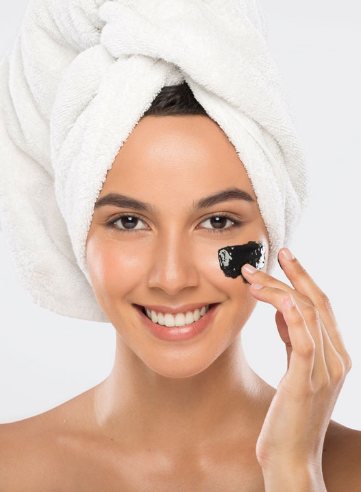 Beauty Photography with Black Facial Mask Product