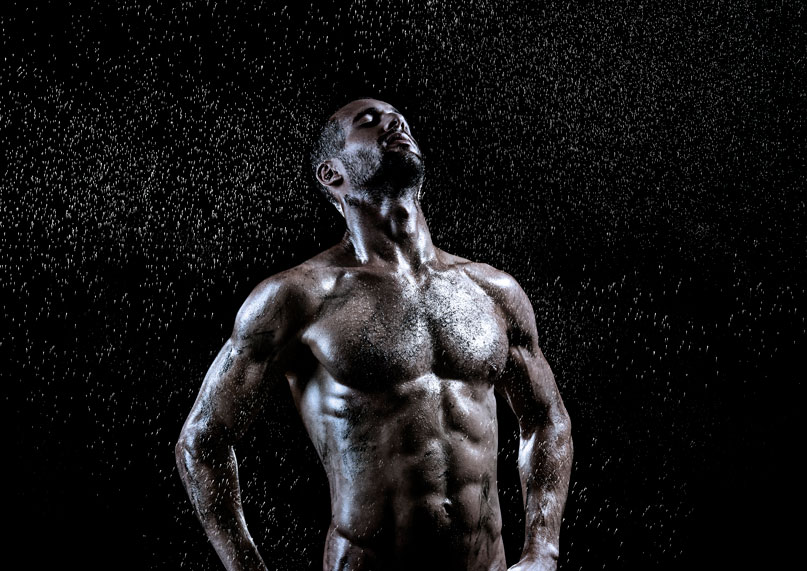 Buff Athlete with Rain Effect Photography
