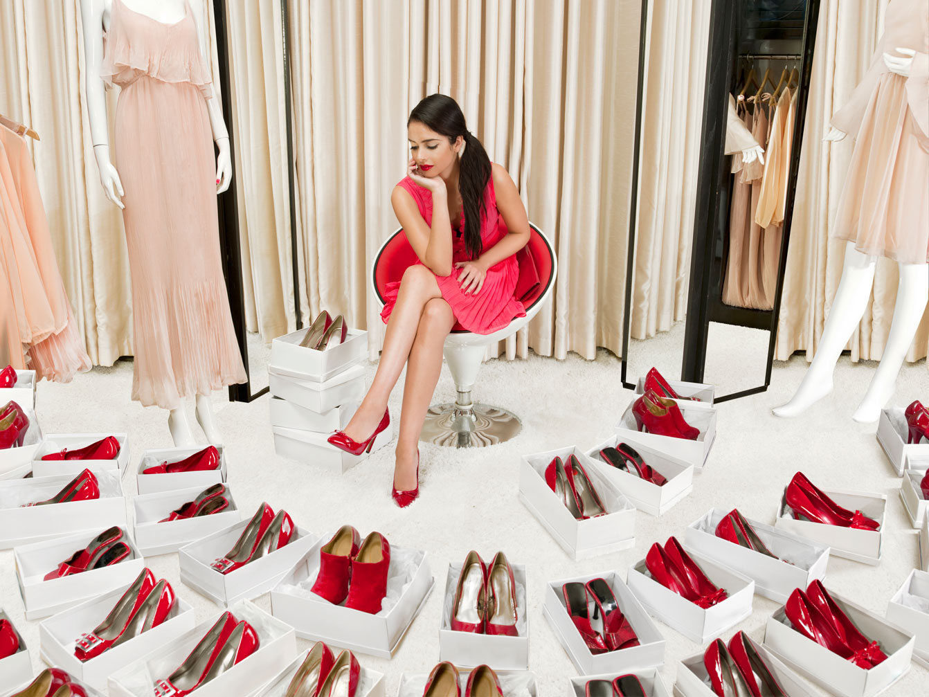 Girl Goes Shopping for Red Heels
