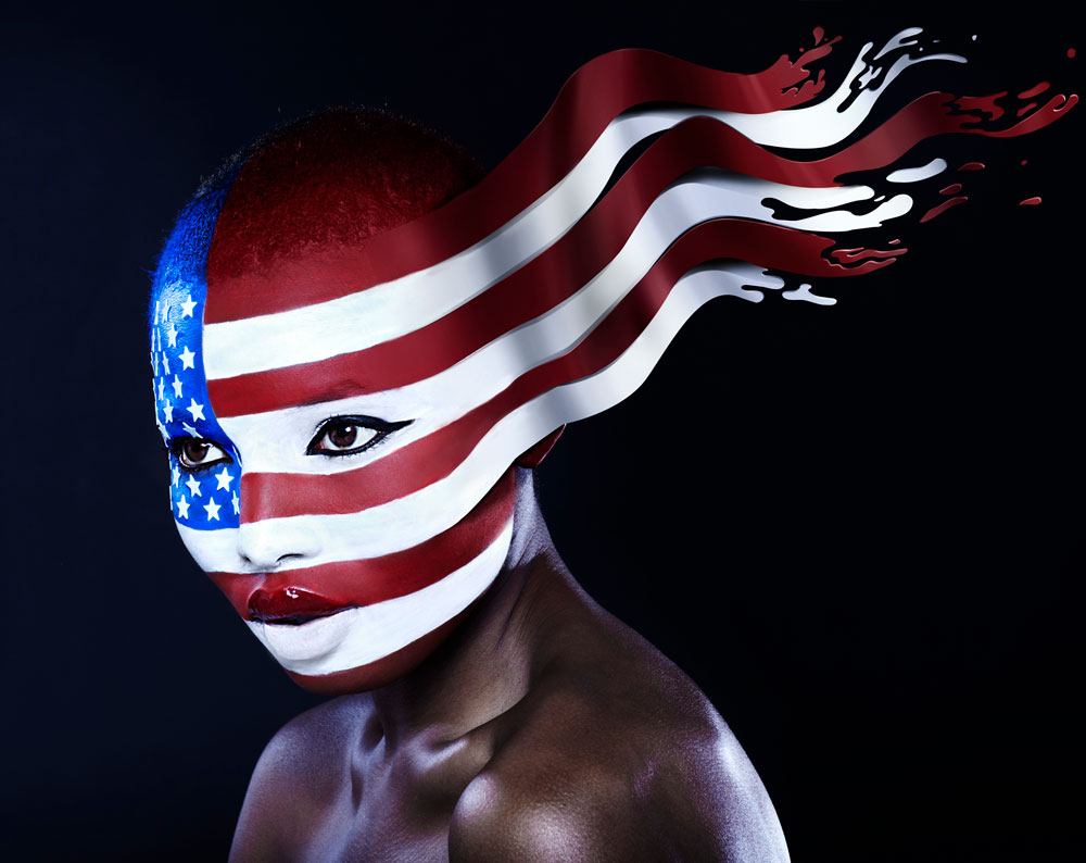 Wavy USA Flag as Woman's Face