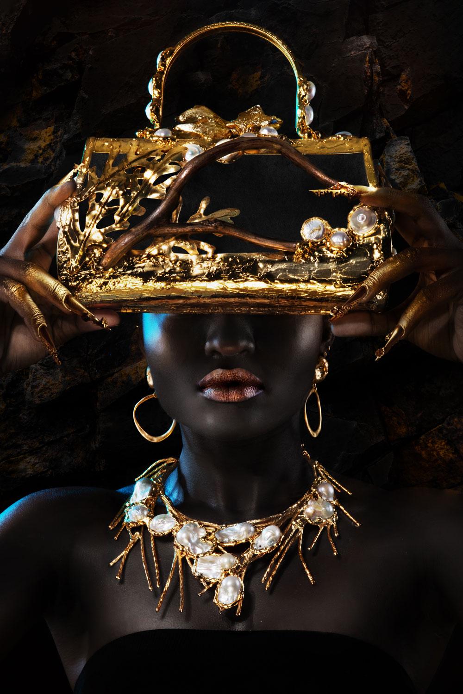 Gold bag on black background