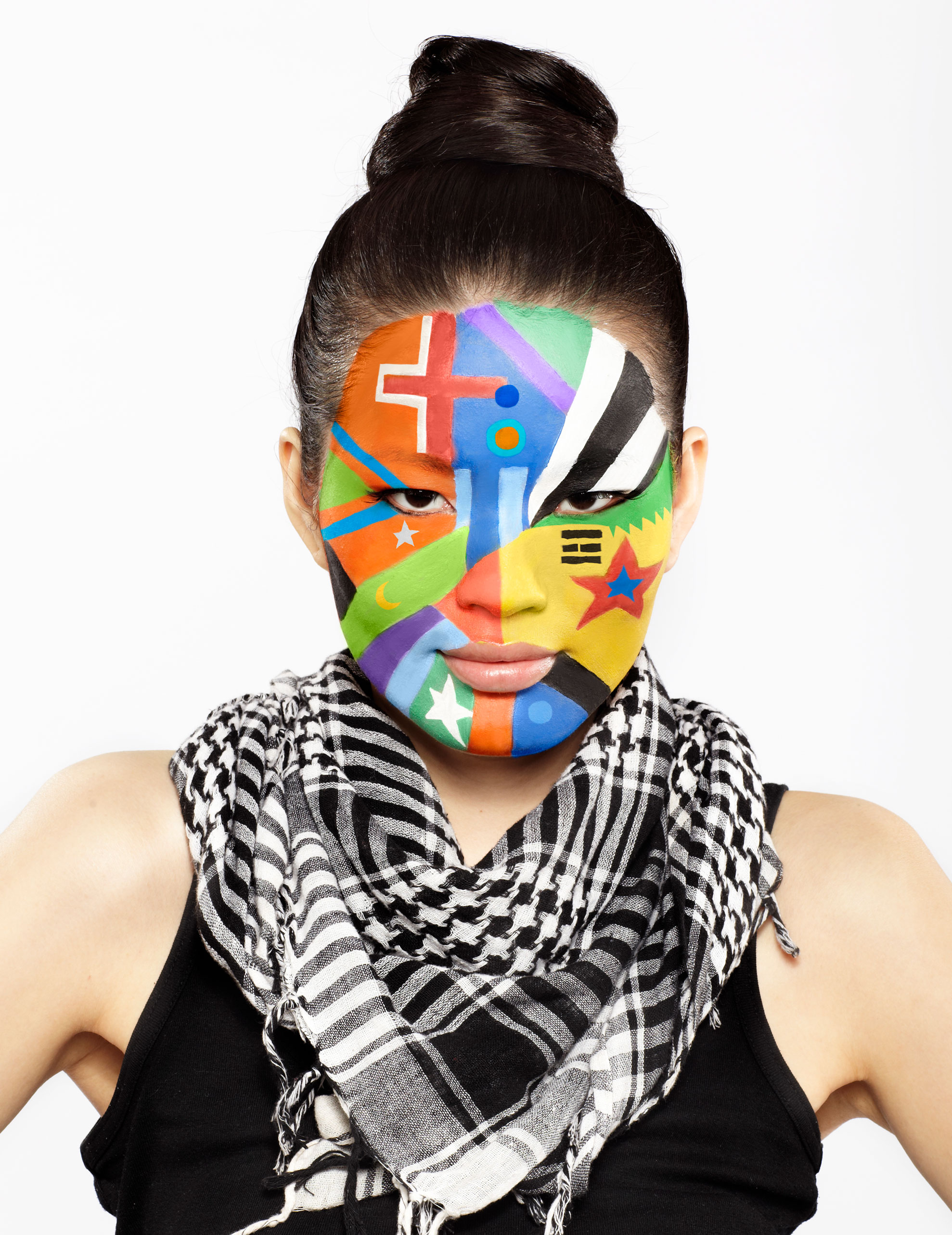 Woman with Face Paint of Different Flags